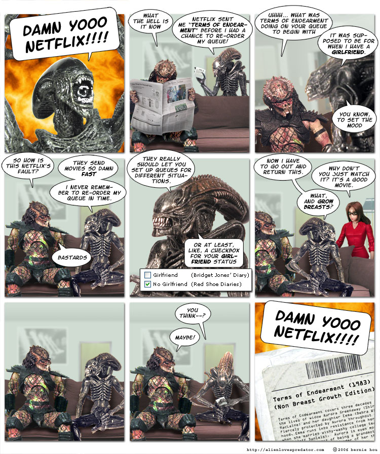 alien loves predator comic strip